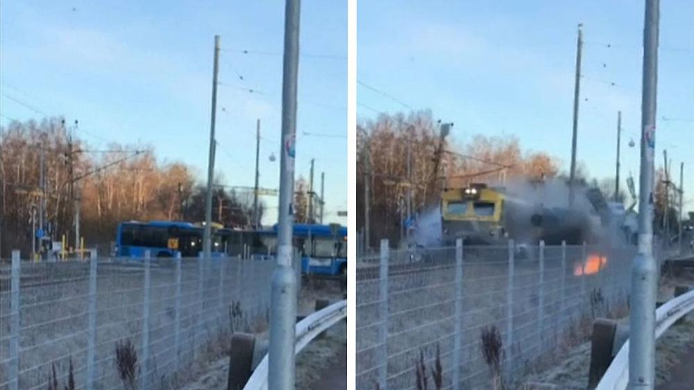 Sweden train and bus crash: Dramatic footage shows accident near Gothenburg